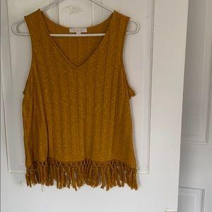 ANTHROPOLOGIE mustard knit tank